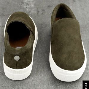 b0385bf8be52 Steve Madden Shoes - STEVE MADDEN GILLS OLIVE SUEDE LEATHER SLIP-ONs